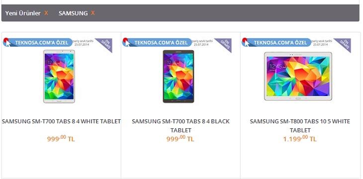Samsung GALAXY Tab S tabletler Türkiye'de