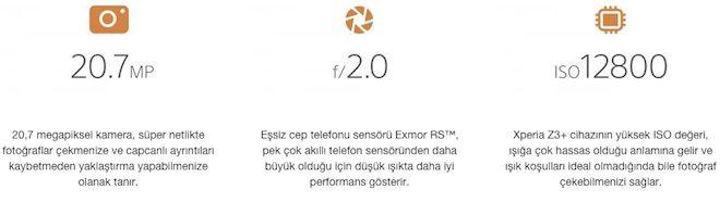 Sony Xperia Z3 Plus ozellikler