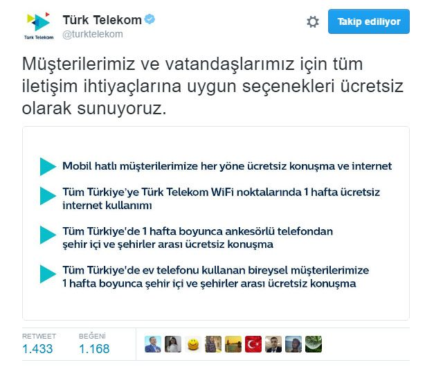türk telekom ücretsiz konuşma ve internet