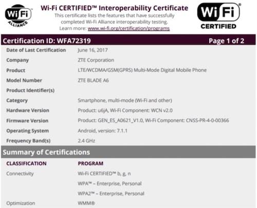 ZTE Blade A6, WiFi sertifikası alıyor