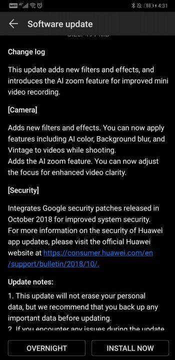 Huawei Mate 20 Pro Güncellemesi