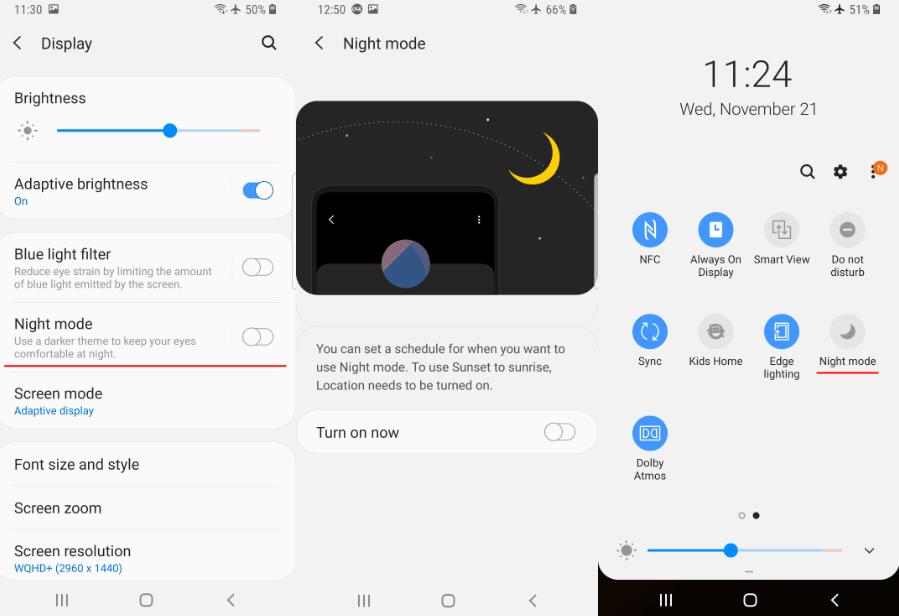 Samsung One UI Gece Modu Özelliği