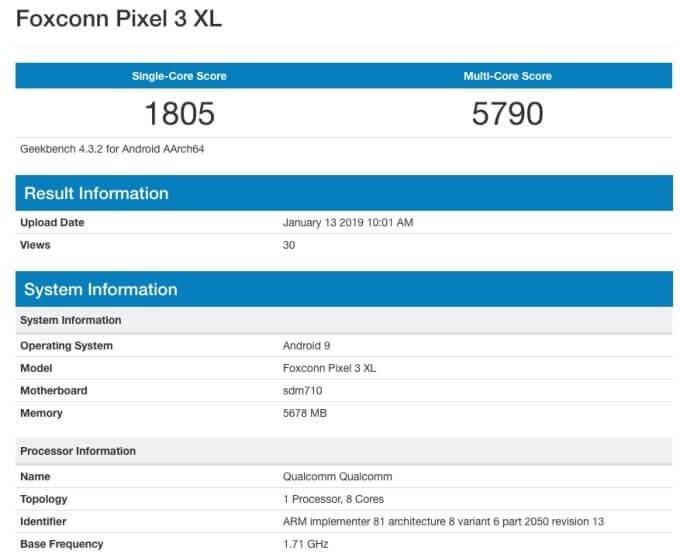 Google Pixel 3 XL Lite - Geekbench'te Görüntülendi!