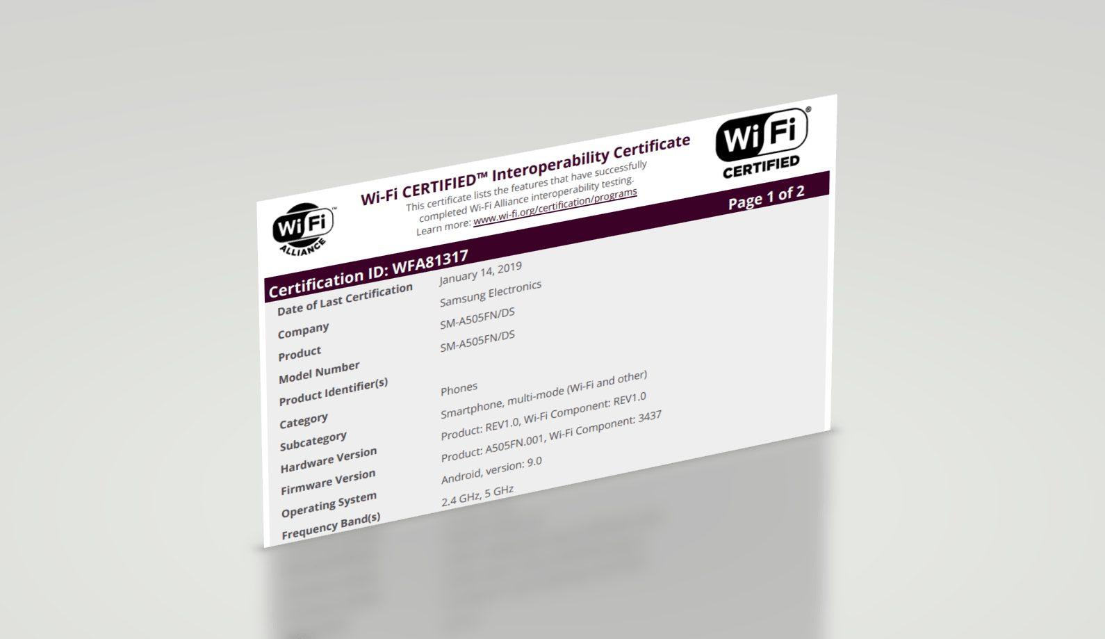 Samsung Galaxy A50 - Wi-Fi Sertifikası Aldı