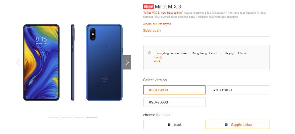 Xiaomi Mi Mix 3 Safir Mavisi Satışa Çıktı - Fiyatı ve Donanım Özellikleri