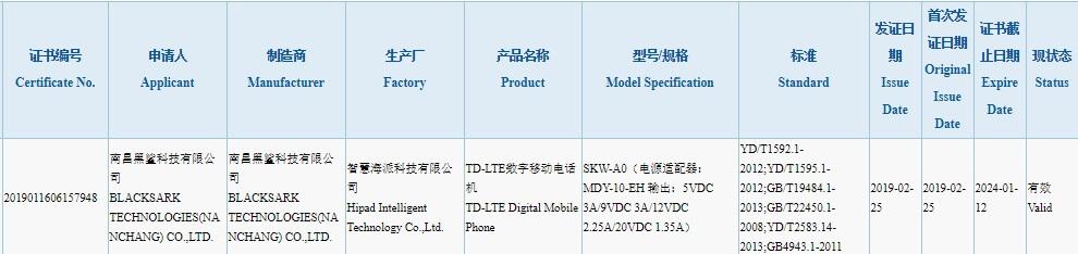 Xiaomi Black Shark 2 İlk Sertifikasını Aldı!
