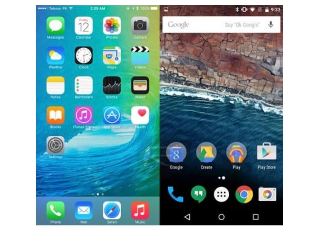iOS vs Android arayuz