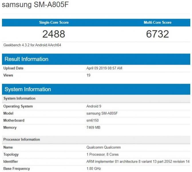 Samsung Galaxy A80 Geekbench