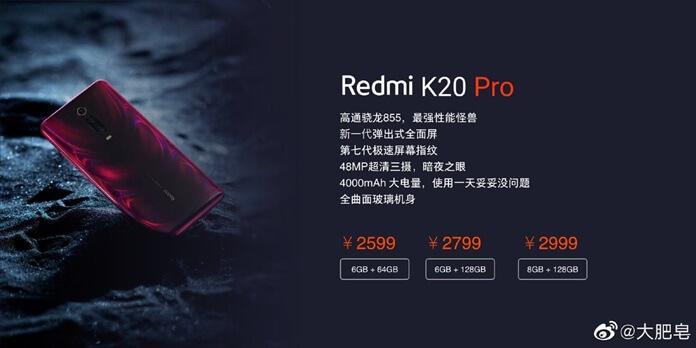 Redmi K20 Pro Fiyatı Sızdırıldı! Üç Farklı Modelde Gelecek!