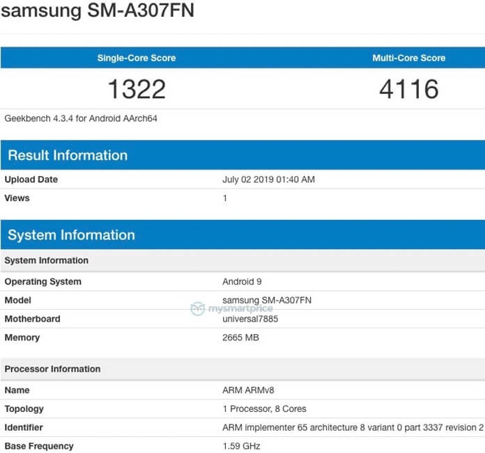 Samsung Galaxy A30s Geekbench'te Görüntülendi!