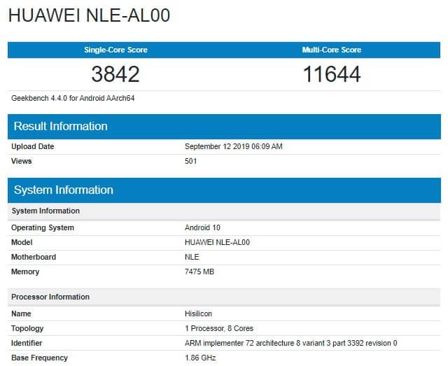 Yeni Huawei Amiral Gemisi GeekBench'te Görüntülendi!