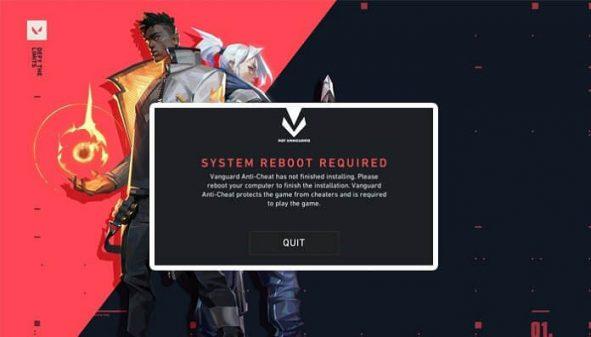 Valorant System Reboot Required hatasi