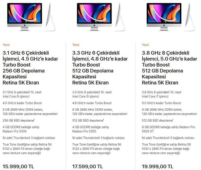 """Yeni iMac 27"""" Apple.com/tr Fiyatları"""