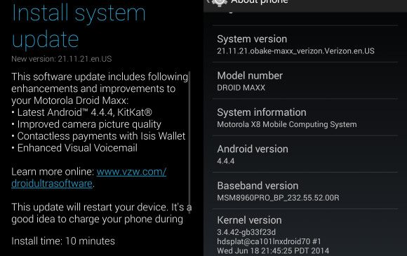 Motorola DROID Maxx, Ultra ve Mini'ye Android 4.4.4 geliyor